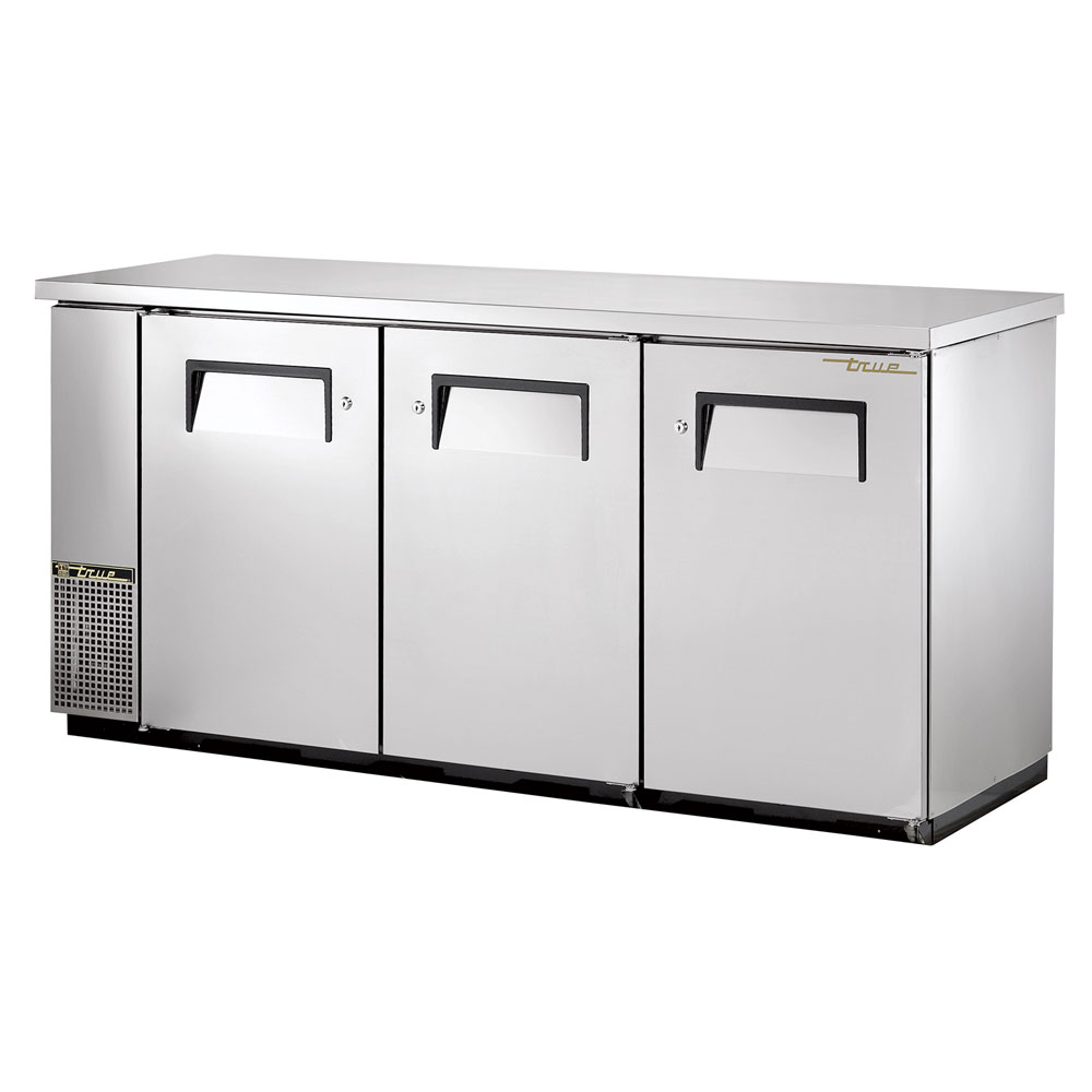 "True TBB-24-72-S 72"" (3) Section Bar Refrigerator - Swinging Solid Doors, 115v"