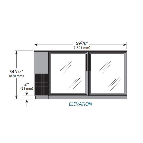 "True TBB-24GAL-60G-LD 60"" (2) Section Bar Refrigerator - Swinging Glass Doors, 115v"