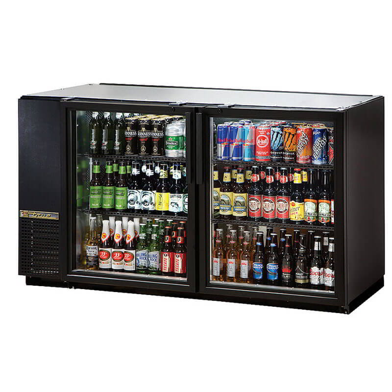 "True TBB-24GAL-60G-LD 60"" (2) Section Bar Refrigerator - Swinging Glass Doors, 115v"