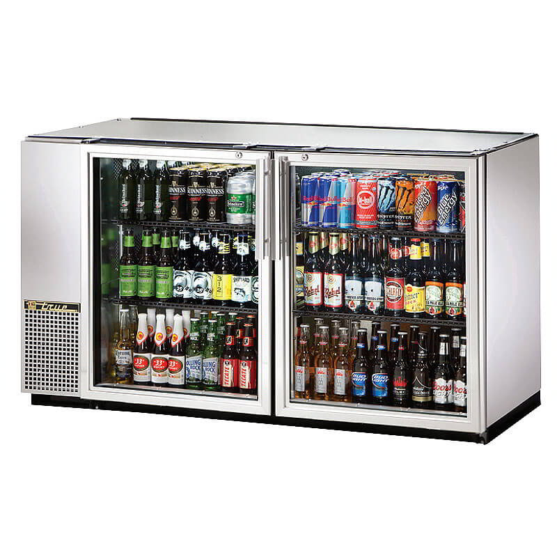 "True TBB-24GAL-60G-S-LD 60"" (2) Section Bar Refrigerator - Swinging Glass Doors, 115v"