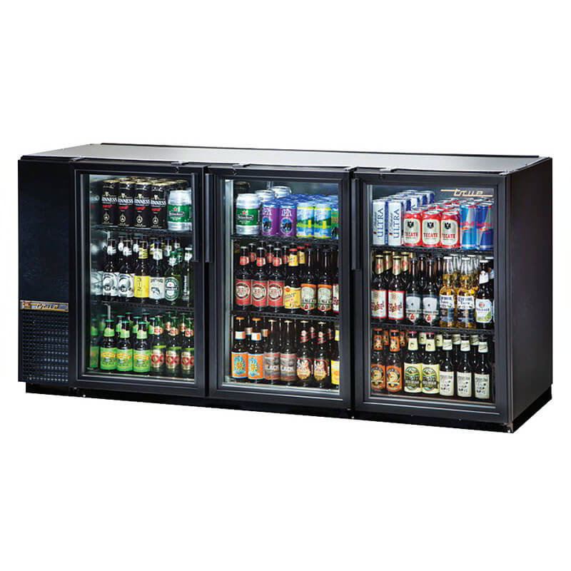 "True TBB-24GAL-72G-LD 72"" (3) Section Bar Refrigerator - Swinging Glass Doors, 115v"