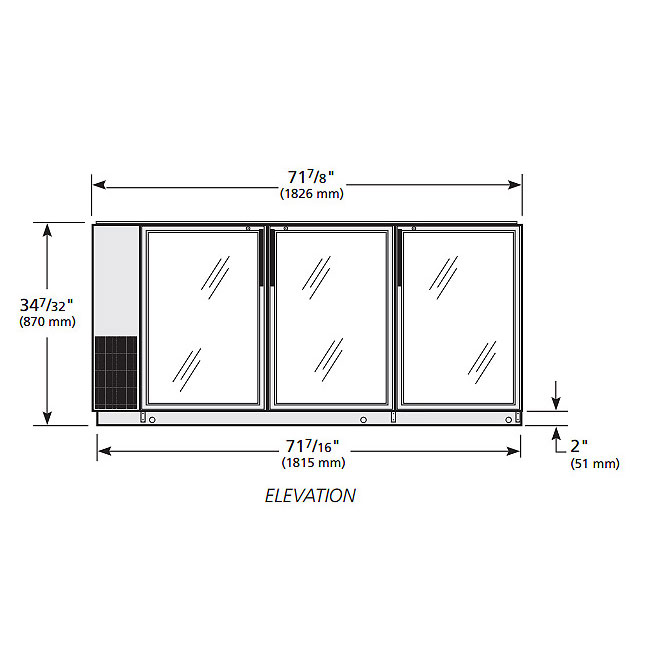 "True TBB-24GAL-72G-S-LD 72"" (3) Section Bar Refrigerator - Swinging Glass Doors, 115v"