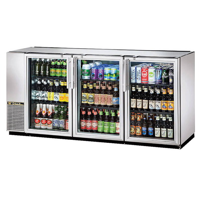 "True TBB-24GAL-72G-S-LD 72"" (3) Section Bar Refrigerator - Swinging Glass Doors, 115v"