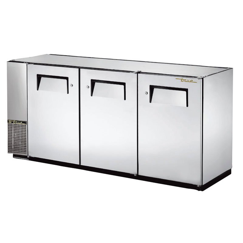 "True TBB-24GAL-72-S 72"" (3) Section Bar Refrigerator - Swinging Solid Doors, 115v"