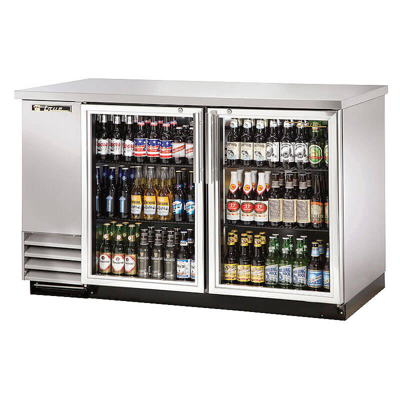 "True TBB-2G-S-LD 59"" (2) Section Bar Refrigerator - Swinging Glass Doors, 115v"