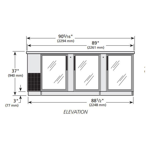 "True TBB-4G-S-LD 90"" (3) Section Bar Refrigerator - Swinging Glass Doors, 115v"