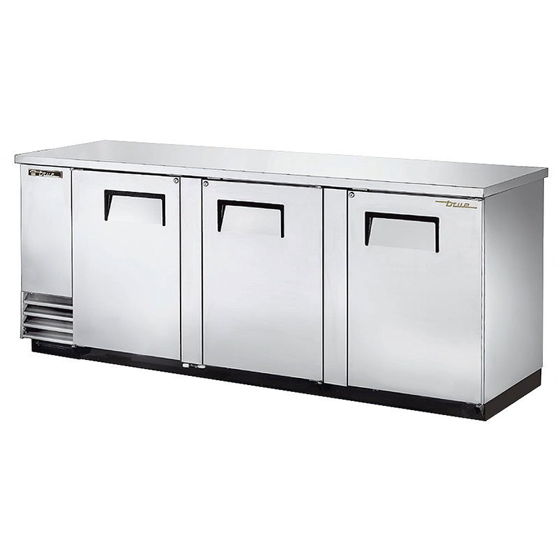 "True TBB-4-S 90"" (3) Section Bar Refrigerator - Swinging Solid Doors, 115v"