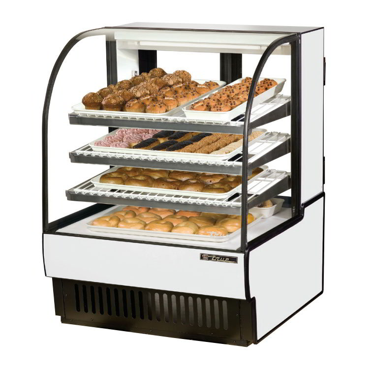 "True TCGD-36 36"" Full Service Bakery Case w/ Curved Glass - (4) Levels, White, 115v"