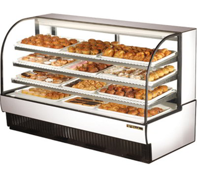 "True TCGD-77 77"" Full Service Bakery Case w/ Curved Glass - (4) Levels, 115v"