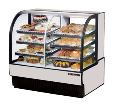 "True TCGDZ-50 50"" Full Service Bakery Case w/ Curved Glass - (4) Levels, White, 115v"