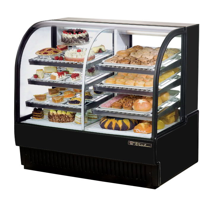 "True TCGDZ-50 50"" Full Service Bakery Case w/ Curved Glass - (4) Levels, Black, 115v"