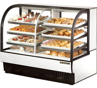 "True TCGDZ-59 59"" Full Service Bakery Case w/ Curved Glass - (4) Levels, White, 115v"