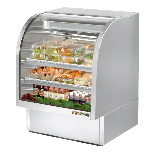 "True TCGG-36-S 36"" Full Service Deli Case w/ Curved Glass - (3) Levels, Stainless, 115v"