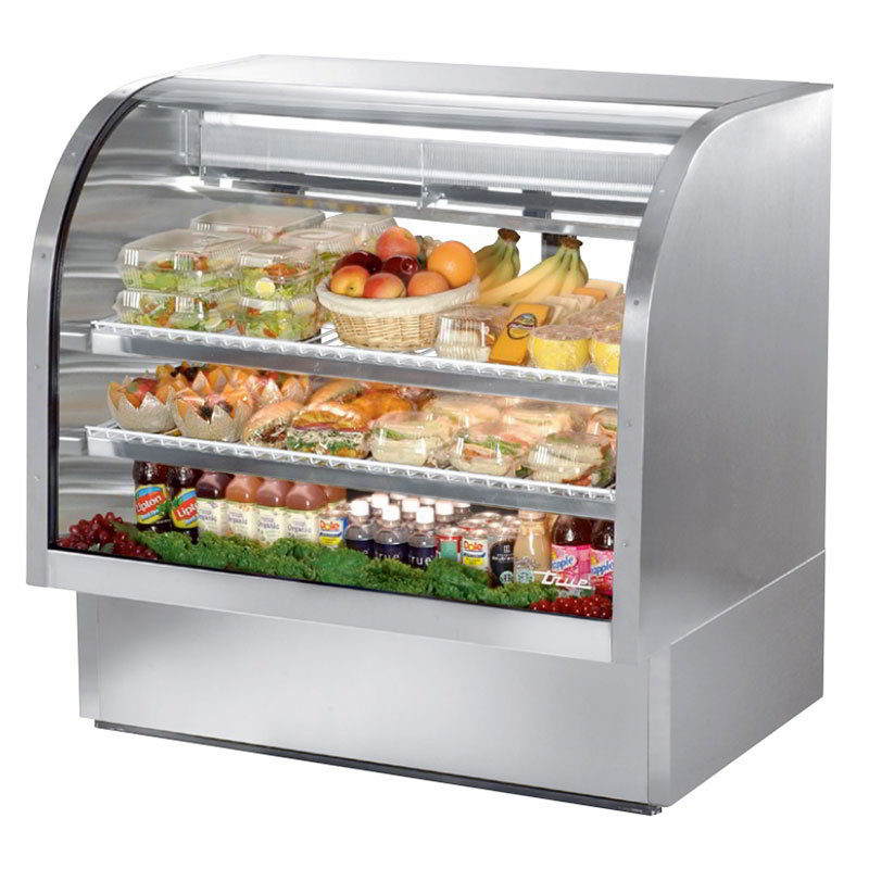 "True TCGG-48-S 48"" Full Service Deli Case w/ Curved Glass - (3) Levels, Stainless, 115v"