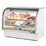 "True TCGG-60 WHT 60"" Full Service Deli Case w/ Curved Glass - (3) Levels, White, 115v"