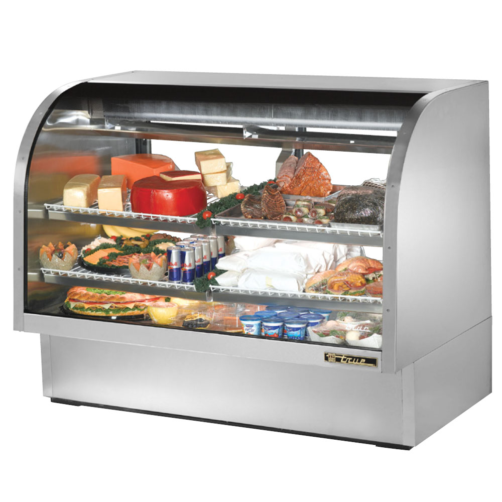"True TCGG-60-S 60"" Full Service Deli Case w/ Curved Glass - (3) Levels, 115v"