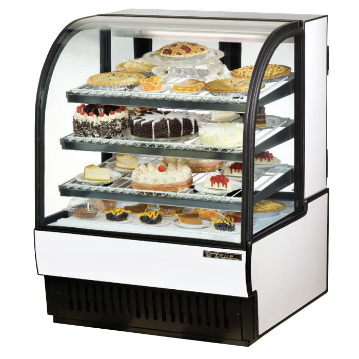 "True TCGR-36 36"" Full Service Bakery Case w/ Curved Glass - (4) Levels, 115v"