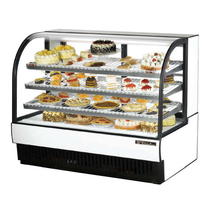 "True TCGR-59 59"" Full Service Bakery Case w/ Curved Glass - (4) Levels, 115v"
