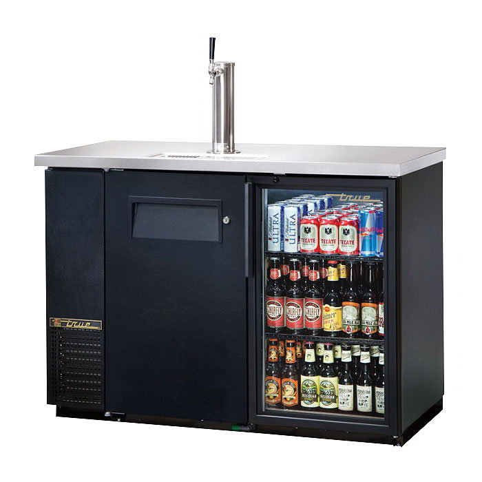 "True TDB-24-48-1-G1LD 49.13"" Draft Beer System w/ (.5) Keg Capacity - (1) Column, Black, 115v"