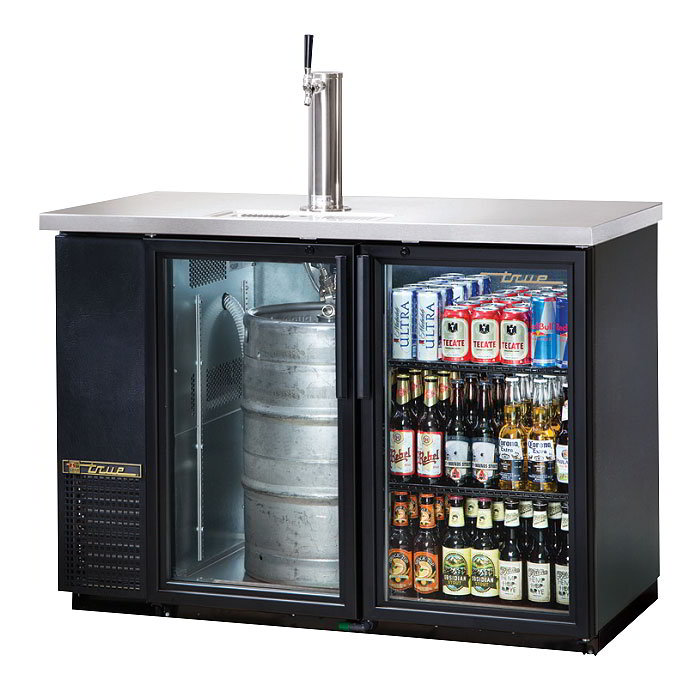 "True TDB-24-48G-LD 49"" Draft Beer System w/ (1) Keg Capacity - (1) Column, Black, 115v"