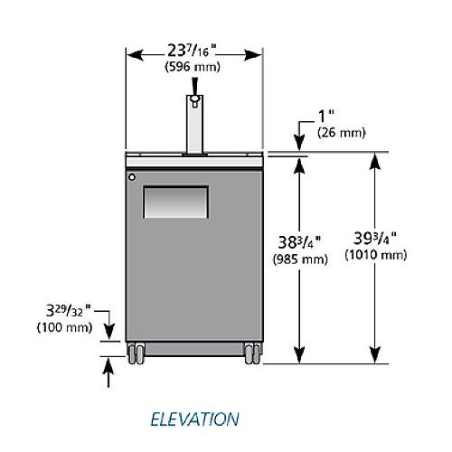 """True TDD-1 24"""" Draft Beer System w/ (1) Keg Capacity - (1) Column, Black, 115v"""