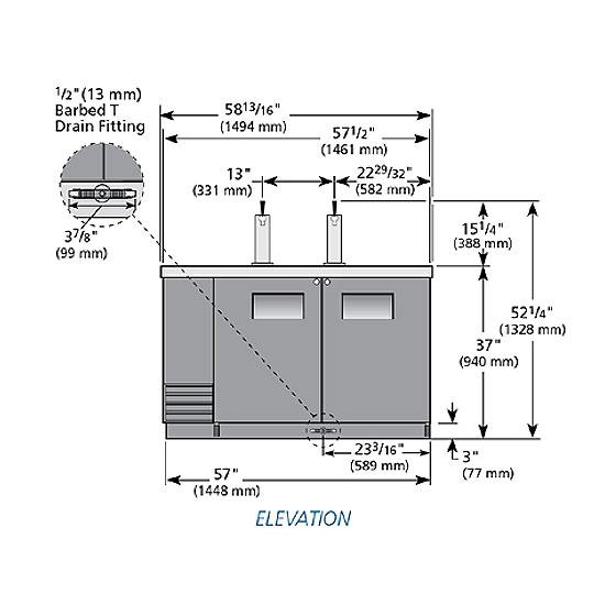 """True TDD-2 59"""" Draft Beer System w/ (2) Keg Capacity - (2) Columns, Black, 115v"""