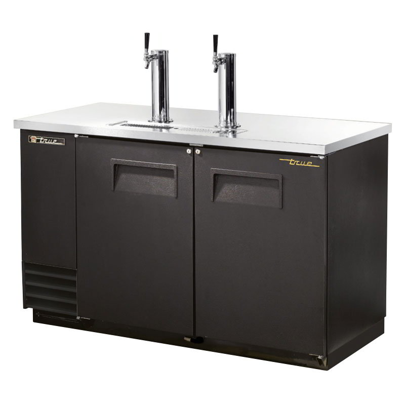 "True TDD-2 59"" Draft Beer System w/ (2) Keg Capacity - (2) Columns, Black, 115v"