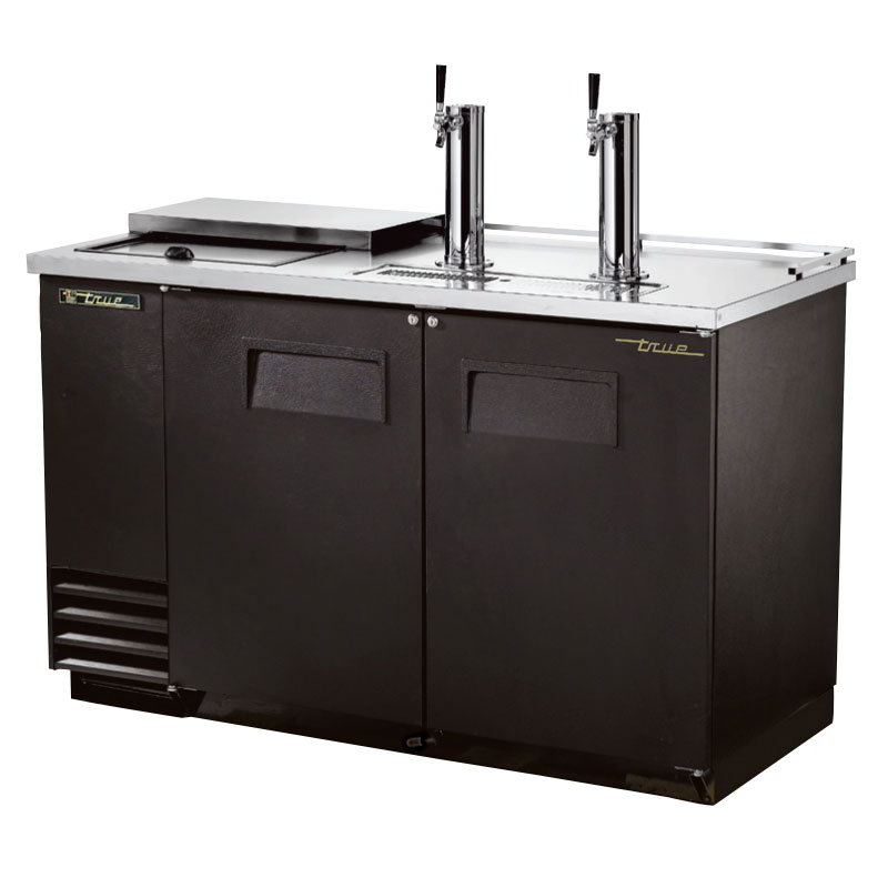 "True TDD-2CT 59"" Draft Beer System w/ (2) Keg Capacity - (2) Columns, Black, 115v"