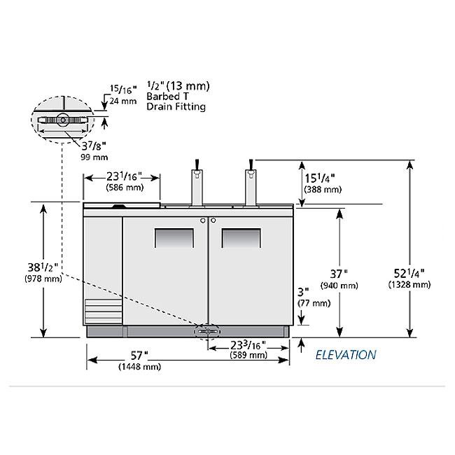 "True TDD-2CT-S 59"" Draft Beer System w/ (2) Keg Capacity - (2) Columns, Stainless, 115v"
