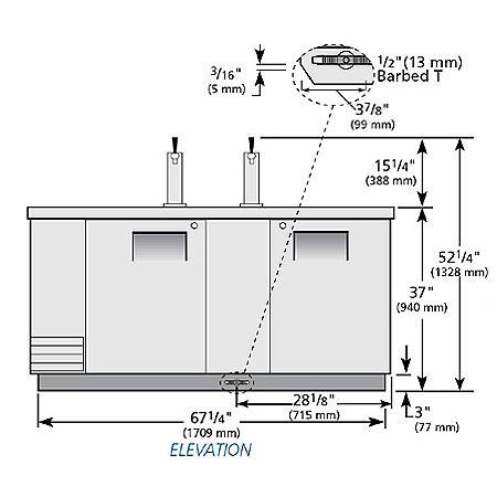 "True TDD-3-S 69"" Draft Beer System w/ (3) Keg Capacity - (2) Columns, Stainless, 115v"