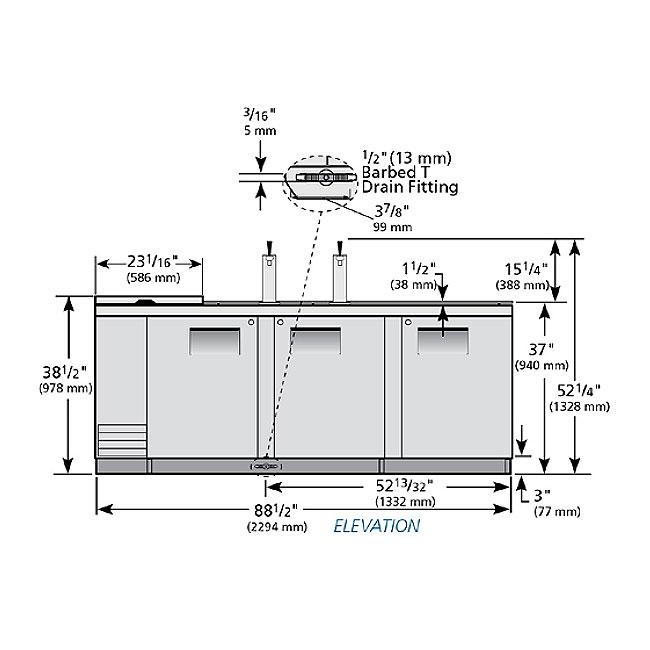 "True TDD-4CT-S 90"" Draft Beer System w/ (4) Keg Capacity - (2) Columns, Stainless, 115v"