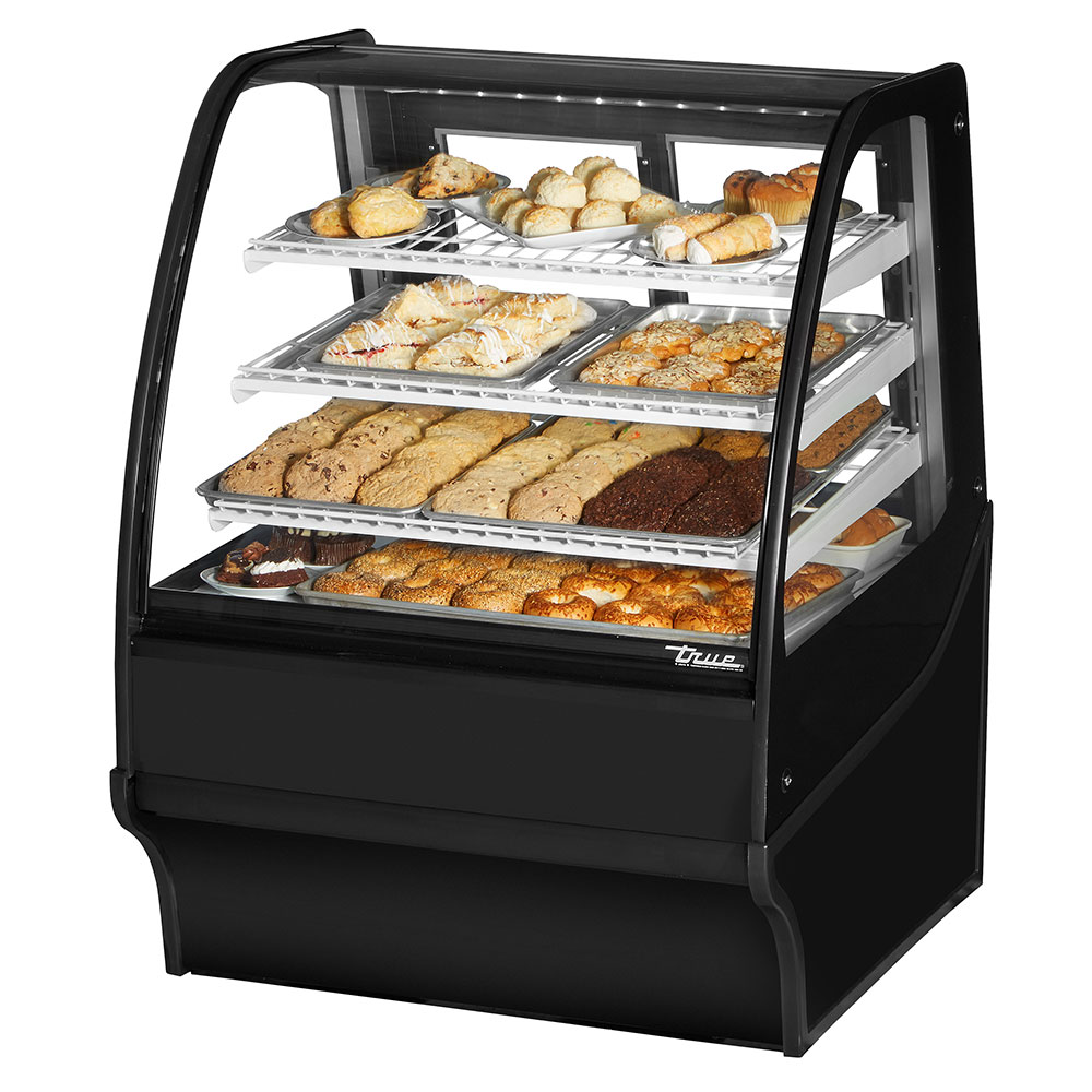 "True TDM-DC-36-GE/GE-B-W 36.25"" Full-Service Dry Bakery Case w/ Curved Glass - (4) Levels, 115v"