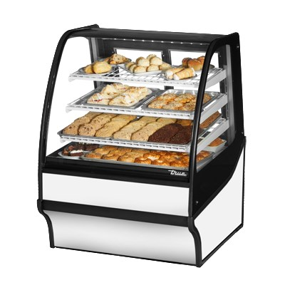 "True TDM-DC-36-GE/GE-S-W 36.25"" Full-Service Dry Bakery Case w/ Curved Glass - (4) Levels, 115v"