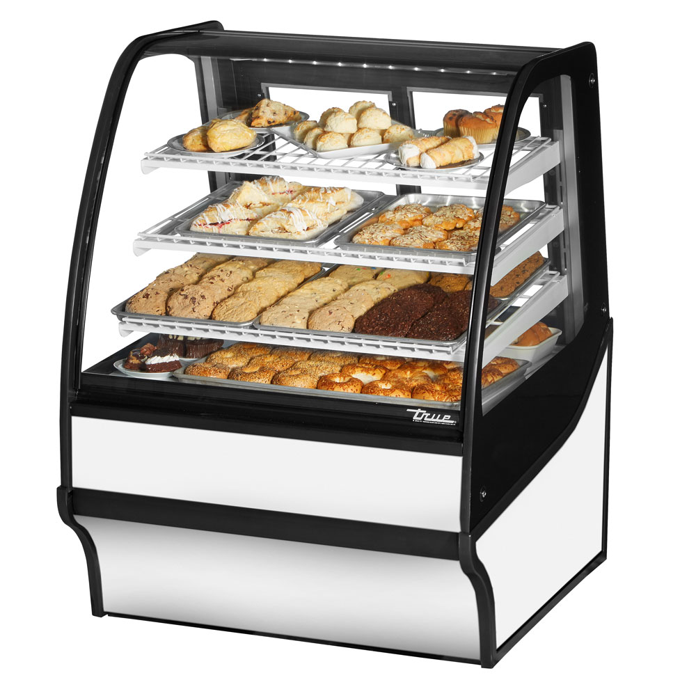 "True TDM-DC-36-GE/GE-W-W 36.25"" Full-Service Dry Bakery Case w/ Curved Glass - (4) Levels, 115v"