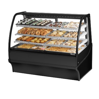 "True TDM-DC-59-GE/GE-S-S 59.25"" Full-Service Dry Bakery Case w/ Curved Glass - (4) Levels, 115v"