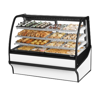 "True TDM-DC-59-GE/GE-S-W 59.25"" Full-Service Dry Bakery Case w/ Curved Glass - (4) Levels, 115v"