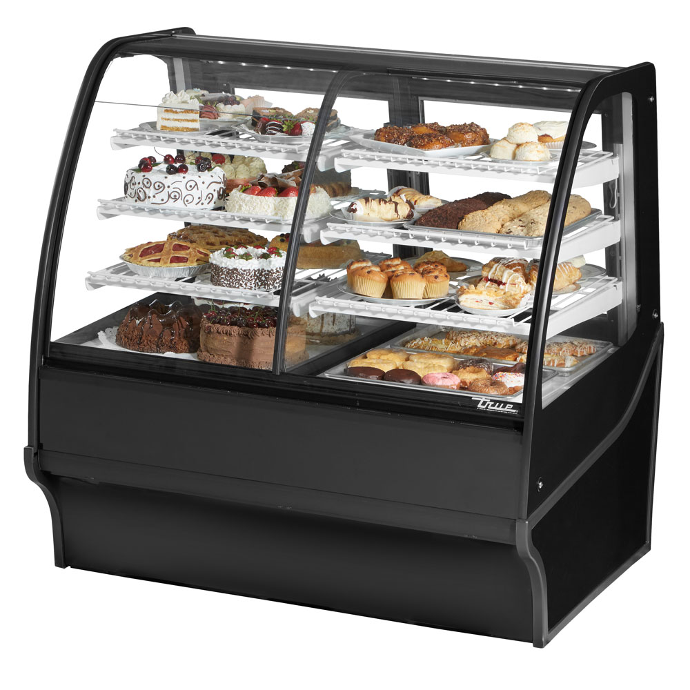 "True TDM-DZ-48-GE/GE-B-W 48.25"" Full-Service Dual-Zone Bakery Case w/ Curved Glass - (4) Levels, 115v"