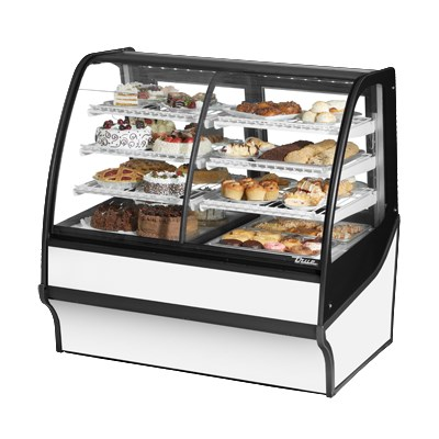 "True TDM-DZ-48-GE/GE-S-W 48.25"" Full-Service Dual-Zone Bakery Case w/ Curved Glass - (4) Levels, 115v"