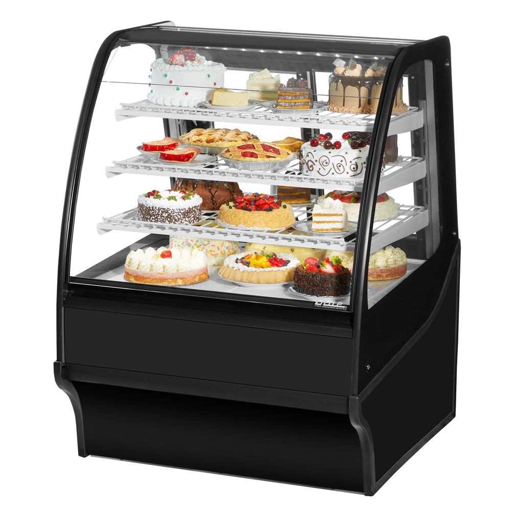 "True TDM-R-36-GE/GE-B-W 36.25"" Full-Service Bakery Case w/ Curved Glass - (4) Levels, 115v"