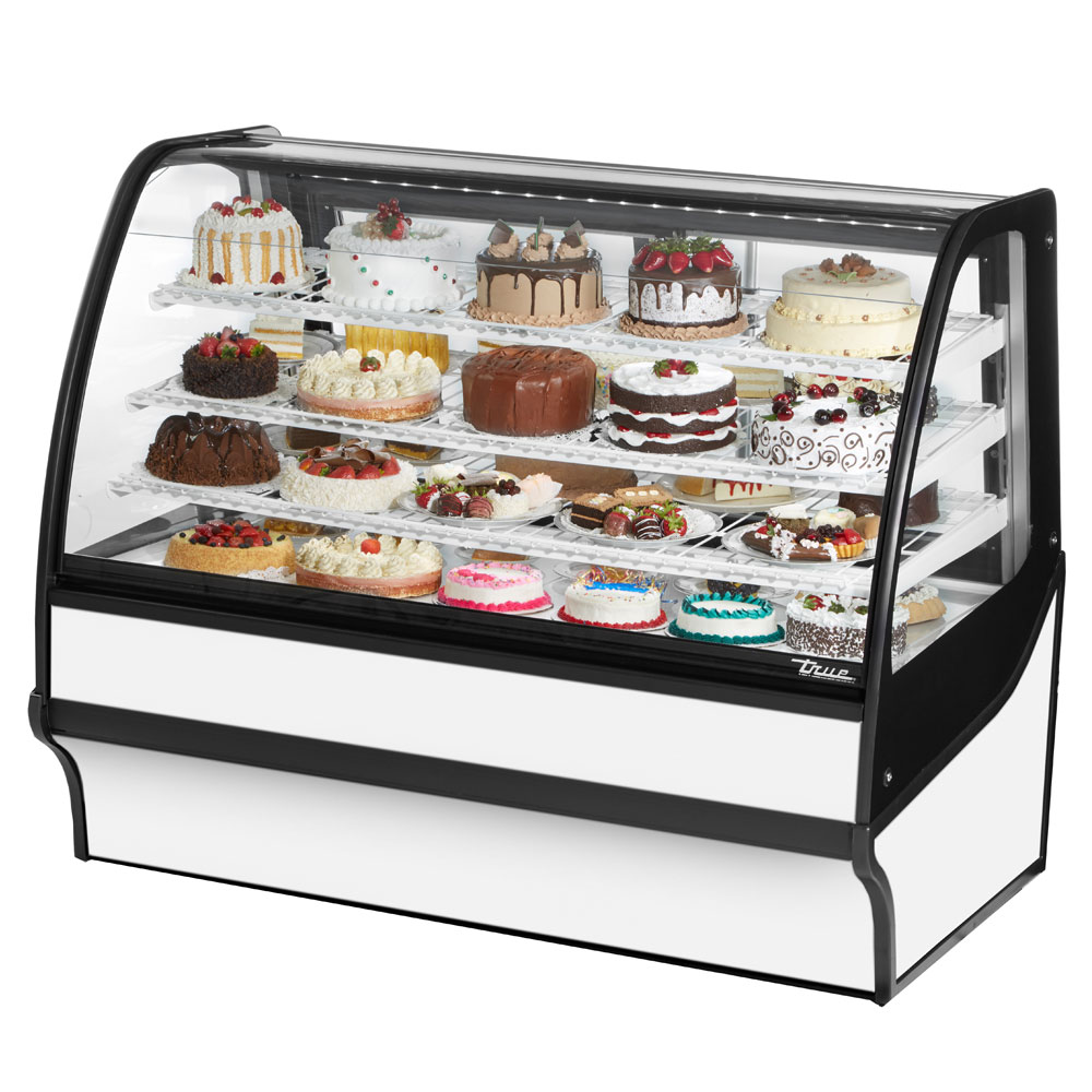 "True TDM-R-59-GE/GE-W-W 59.25"" Full-Service Bakery Case w/ Curved Glass - (4) Levels, 115v"