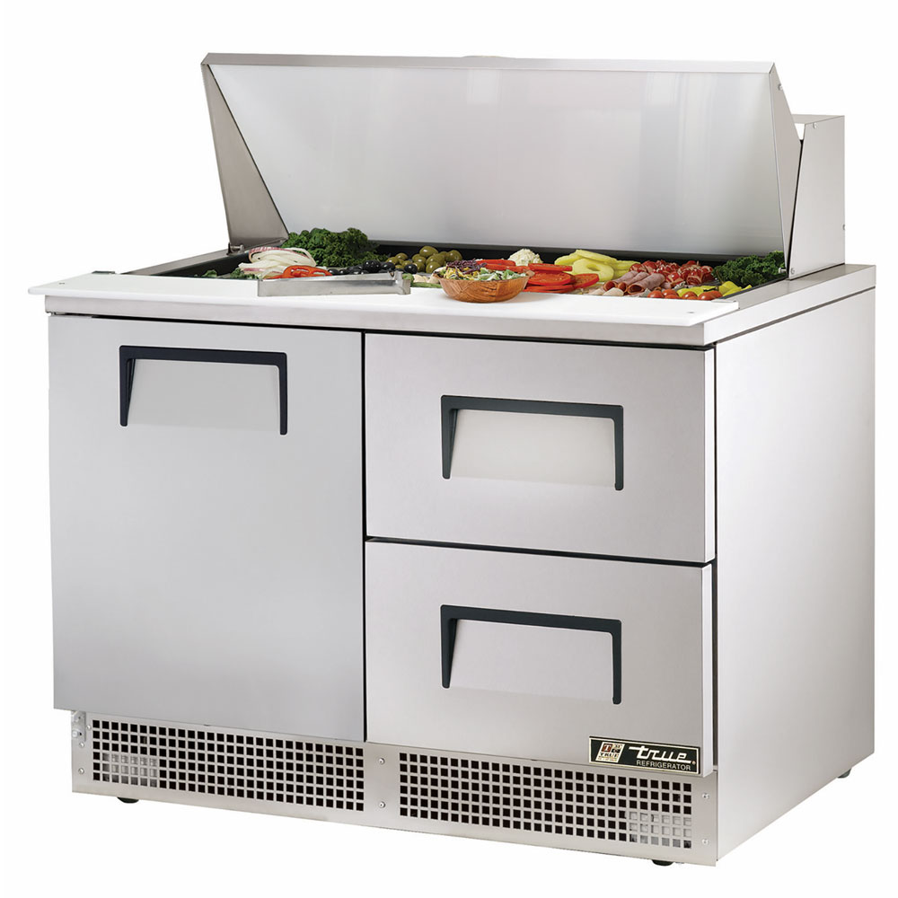 "True TFP-48-18M-D-2 48"" Sandwich/Salad Prep Table w/ Refrigerated Base, 115v"