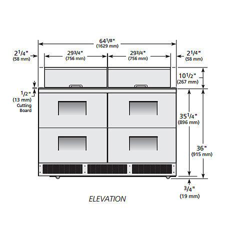 "True TFP-64-24M-D4 64"" Sandwich/Salad Prep Table w/ Refrigerated Base, 115v"