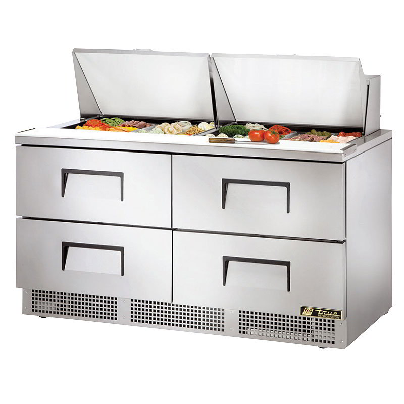 "True TFP-64-24M-D4 64"" Sandwich/Salad Prep Table w/ Refrigerated Base, 115v"