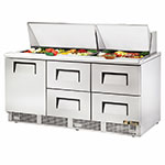 "True TFP-72-30M-D-4 72"" Sandwich/Salad Prep Table w/ Refrigerated Base, 115v"