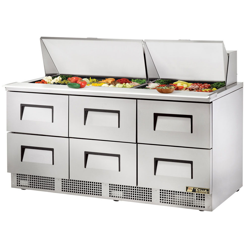 "True TFP-72-30M-D6 72"" Sandwich/Salad Prep Table w/ Refrigerated Base, 115v"