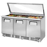 "True TFP-72-30M-FGLID 72.13"" Sandwich/Salad Prep Table w/ Refrigerated Base, 115v"