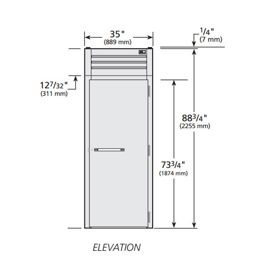 """True STG1HRI89-1S 35"""" Roll-In Heated Cabinet - 1-Solid Door, 89""""H, Stainless/Aluminum"""