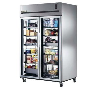 TRUE Refrigeration TG2R-2G Refrigerator Reach-In 2 Section/Glass Doors 6 Shelves 56 cu ft Restaurant Supply
