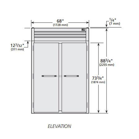 "True STG2RRT89-2S-2S 68"" Two Section Roll-In Refrigerator, (2) Solid Door, 115v"
