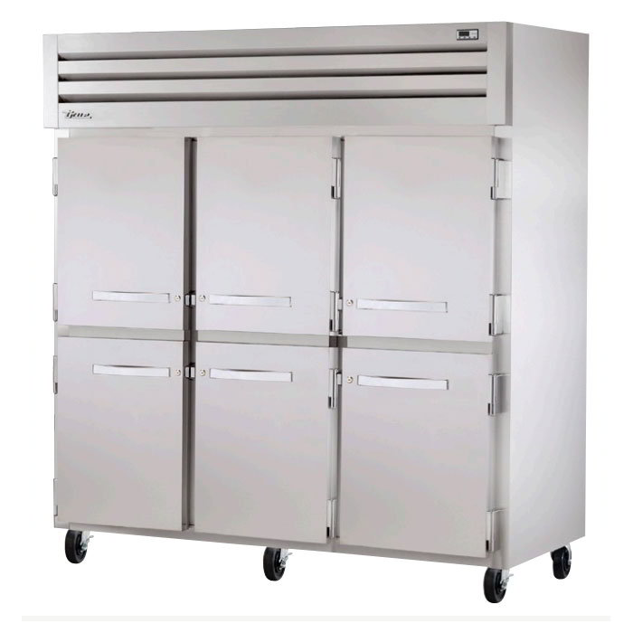 "True STG3R-6HS 77.75"" Three Section Reach-In Refrigerator, (6) Solid Door, 115v"